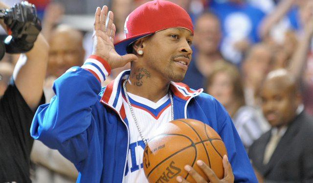 May 23, 2012; Philadelphia, PA USA;  Philadelphia 76ers former guard Allen Iverson before the start of game six against the Boston Celtics in the Eastern Conference semifinals of the 2012 NBA Playoffs at the Wells Fargo Center. Mandatory Credit: Eric Hartline-US PRESSWIRE