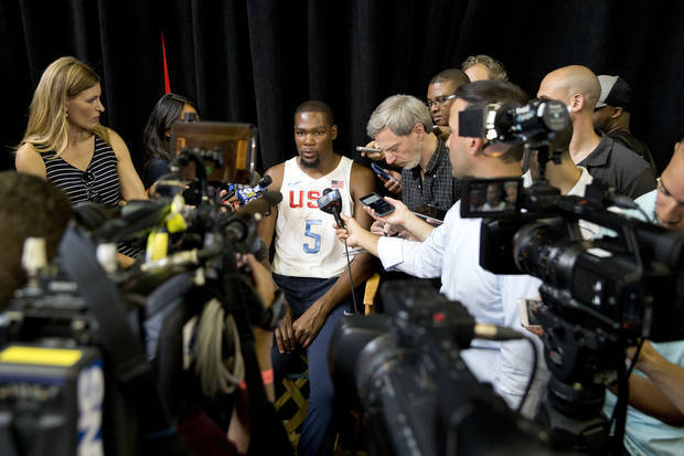 The U.S. men's Olympic basketball team player Kevin Durant speaks to reporters during a news conference Monday, June 27, 2016, in New York. (AP Photo/Mary Altaffer)