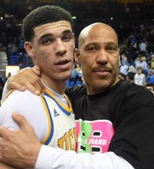 Mar 4, 2017; Los Angeles, CA, USA; Lavar Ball embraces his son UCLA Bruins guard Lonzo Ball (2) after the game against the Washington State Cougars at Pauley Pavilion. Mandatory Credit: Richard Mackson-USA TODAY Sports ORG XMIT: USATSI-337370 ORIG FILE ID:  20170304_lbm_am8_046.JPG