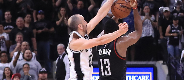 Manu Ginobili blocks James Harden