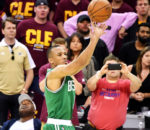 CLEVELAND, OH - MAY 21:  Avery Bradley #0 of the Boston Celtics shoots the winning basket in their 111 to 108 win over the Cleveland Cavaliers during Game Three of the 2017 NBA Eastern Conference Finals at Quicken Loans Arena on May 21, 2017 in Cleveland, Ohio. NOTE TO USER: User expressly acknowledges and agrees that, by downloading and or using this photograph, User is consenting to the terms and conditions of the Getty Images License Agreement.  (Photo by Jamie Sabau/Getty Images)