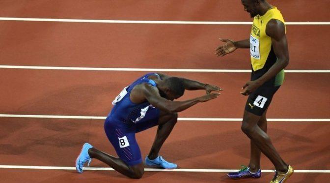 Gatlin beats Bolt in 100m, in Bolt's last individual race